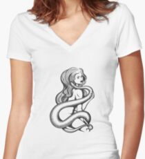 Sexy Woman with Snake Women's Fitted V-Neck T-Shirt