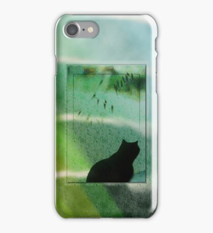 Black Cat Looking out a Window Impression iPhone Case/Skin