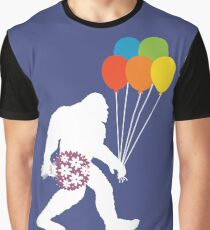 Bigfoot Happy Day Rainbow Balloon And Flowers Graphic T-Shirt