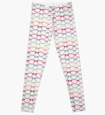 Cat Eye Glasses Pattern - Retro Waves of Color Leggings