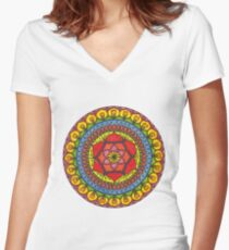 Floral Mandala - Red Rose Women's Fitted V-Neck T-Shirt