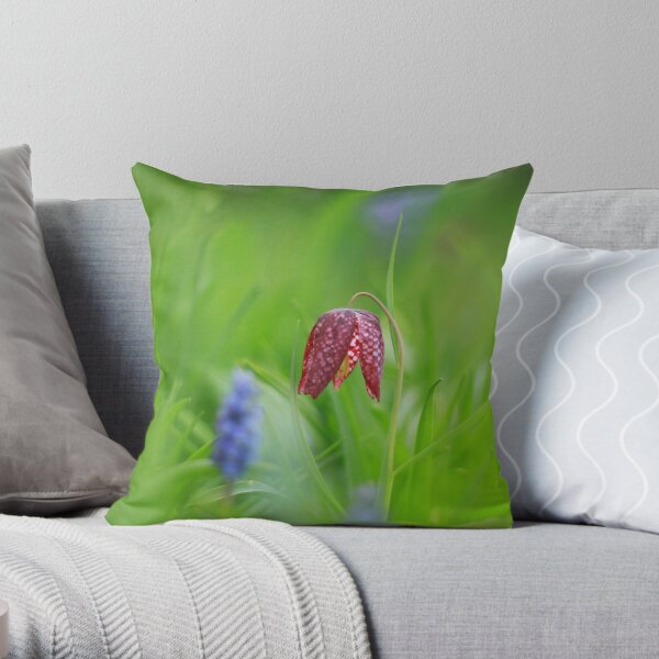 Snakes head fritillary looking blooming marvelous  Throw Pillow