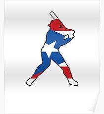 Puerto Rico Flag Baseball Player Poster