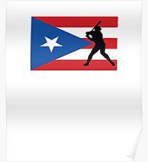 Puerto Rico Flag Baseball Player V2 Poster