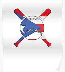 Puerto Rico Flag Baseball Player V3 Poster