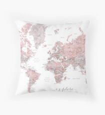 Explore - Dusty pink and grey watercolor world map, detailed Throw Pillow