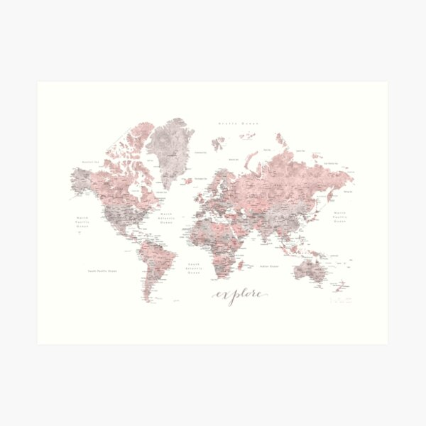 Explore - Dusty pink and grey watercolor world map, detailed Art Print