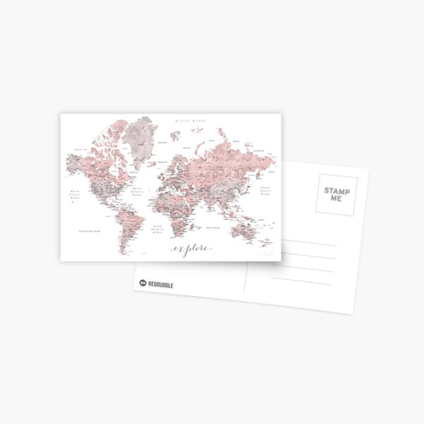 Explore - Dusty pink and grey watercolor world map, detailed Postcard