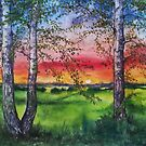 Summer Sunset Over the Meadow and Birch Trees by Anthropolog
