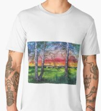 Summer Sunset Over the Meadow and Birch Trees Men's Premium T-Shirt