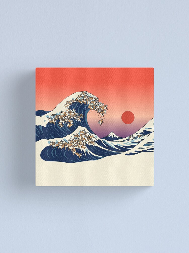 Alternate view of The Great Wave of Shiba Inu Canvas Print