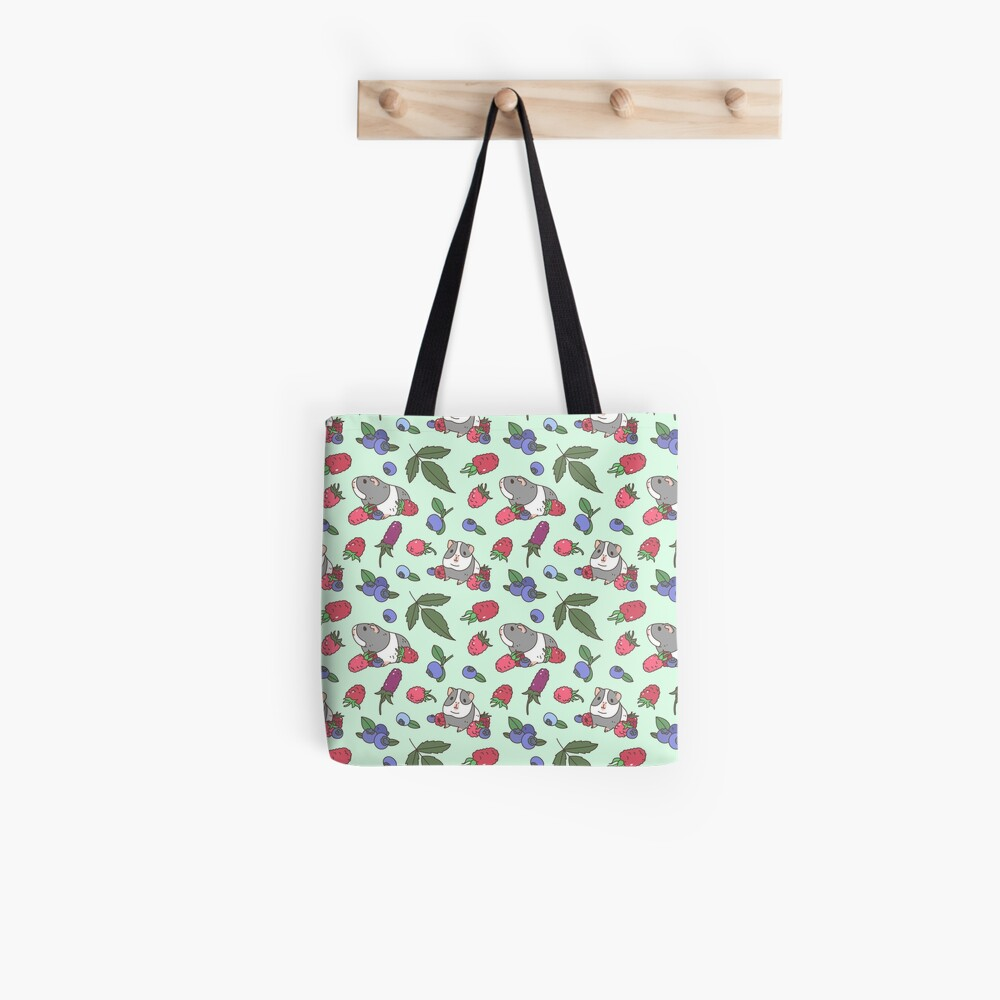 Gray Guinea pig, raspberries and blueberries pattern in mint background  Tote Bag