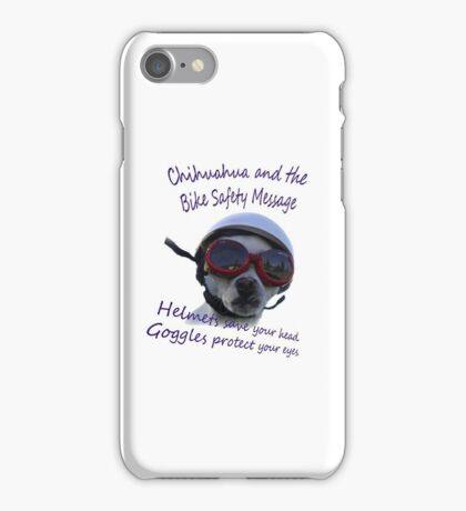 Chihuahua and the Bike Safety Message --New and Improved Tee iPhone Case/Skin