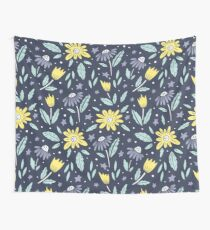Yellow and blue flowers Wall Tapestry