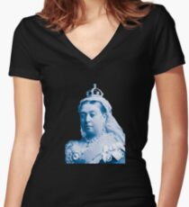 Queen Victoria Blue Image Women's Fitted V-Neck T-Shirt