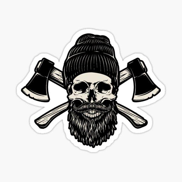 Bearded Lumberjack Skull Sticker