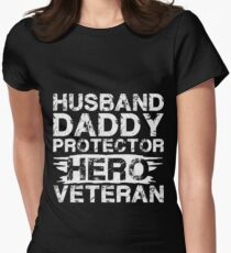 Daddy Husband Protector Hero Veteran Women's Fitted T-Shirt