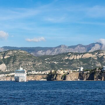 Cruising the Med - Cruise Ship, Imposing Cliff, and Calm Blue Mediterranean Water at Sorrento, Italy by GeorgiaM