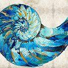 Tropical Blue Art - Nautilus Shell Bleu 2 - Sharon Cummings Artist by Sharon Cummings