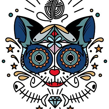 Mexican day of the dead cat art by masatomio