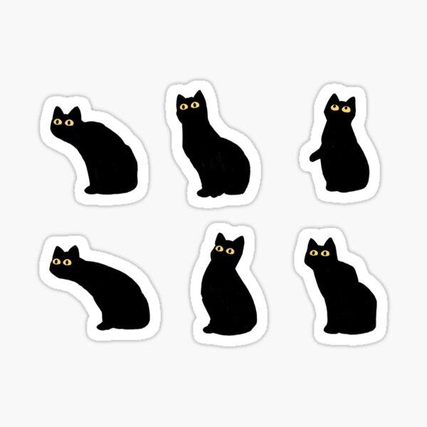 ensemble d'autocollants chat noir Sticker