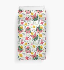 BUTTERFLIES AND TROPICAL FLOWERS Duvet Cover