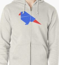 Geometric bird blue / red Zipped Hoodie