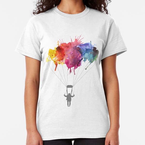 Skydiving, Skydiver parachute, parachuting. Watercolor Illustration Classic T-Shirt