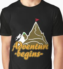 Outdoor Adventure Begins Mountain Climbing peak - Gift Idea Graphic T-Shirt