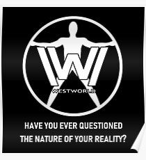 Westworld Host (White, Text 2) Poster