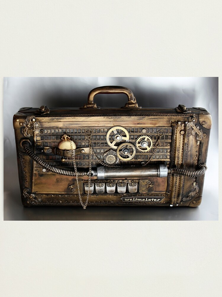 Suitcase Leather Briefcase Gloss Finish Photography Poster 24x16 Case