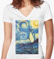 Debian Starry Night Women's Fitted V-Neck T-Shirt