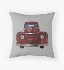 Red Vintage Truck 1940s Throw Pillow