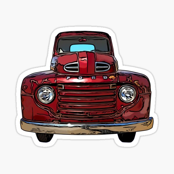 Red Vintage Truck 1940s Sticker