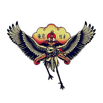 TOKYO JAPAN - Japanese Crane tattoo design by JamesShannon