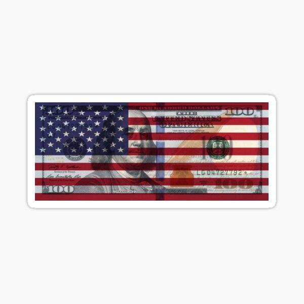 American Flag $100 Dollar Bill  Sticker
