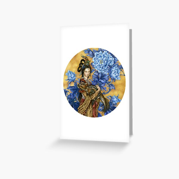 Lady with an Archaeoceratops Greeting Card