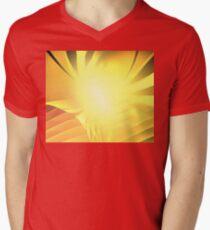 Saffron Floral Waves Men's V-Neck T-Shirt