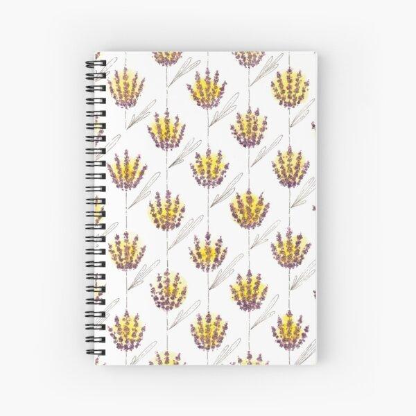 Golden Lavender Bunch Pattern Spiral Notebook