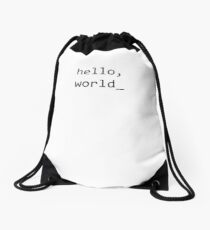Hello World Font Drawstring Bag