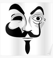 Various Masks - Mr Robot V For Vendetta Money Heist Poster