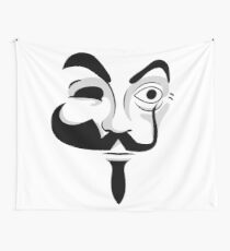 Various Masks - Mr Robot V For Vendetta Money Heist Wall Tapestry