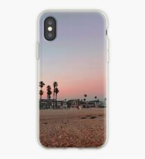 Vintage Palm Trees in the Sunset with Lifeguard Tower iPhone Case