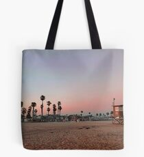 Vintage Palm Trees in the Sunset with Lifeguard Tower Tote Bag