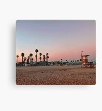 Vintage Palm Trees in the Sunset with Lifeguard Tower Canvas Print