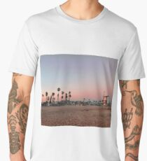 Vintage Palm Trees in the Sunset with Lifeguard Tower Men's Premium T-Shirt