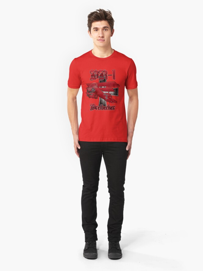 Alternate view of DR-1 Red Baron Triplane WWI Warbird Slim Fit T-Shirt
