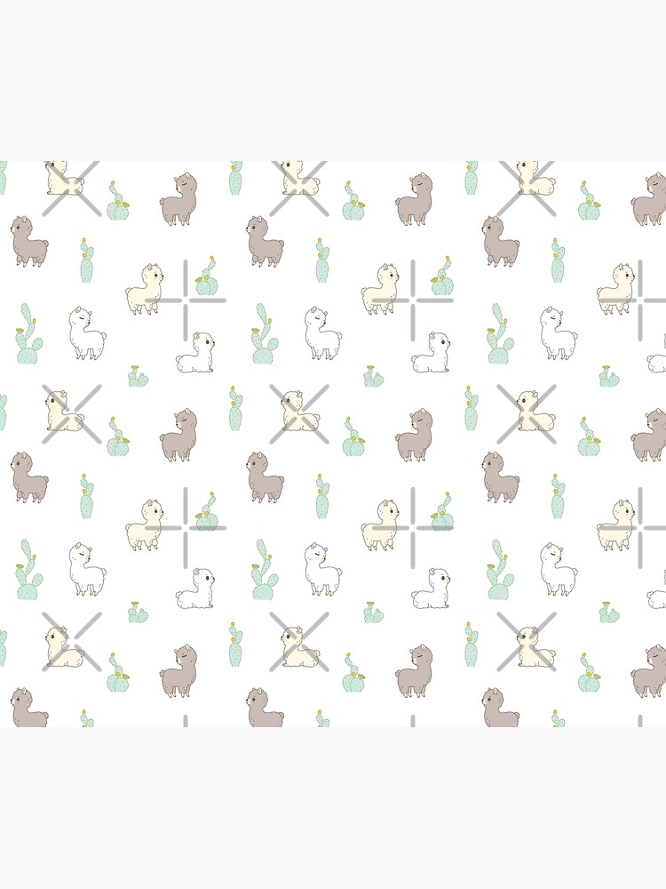 Alpaca pattern with cactus in white background  by Miri-Noristudio