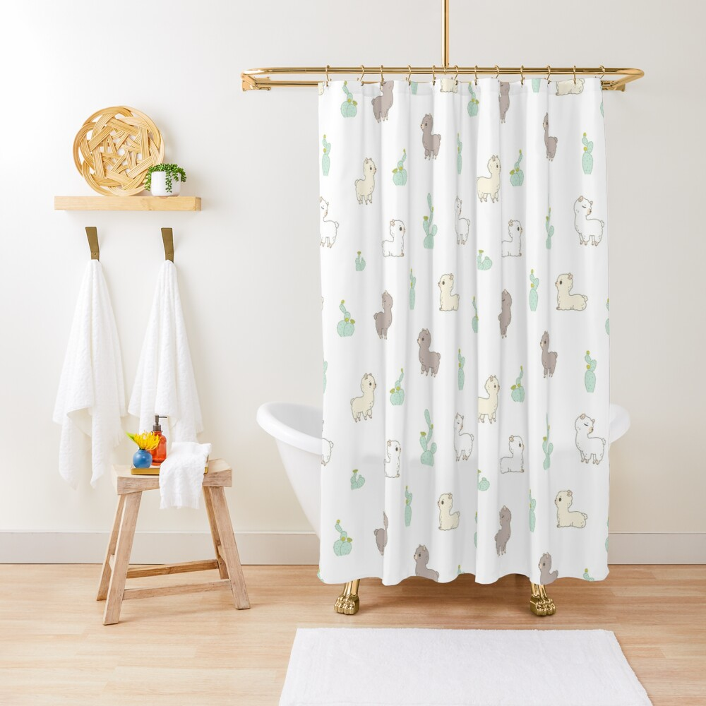 Alpaca pattern with cactus in white background  Shower Curtain
