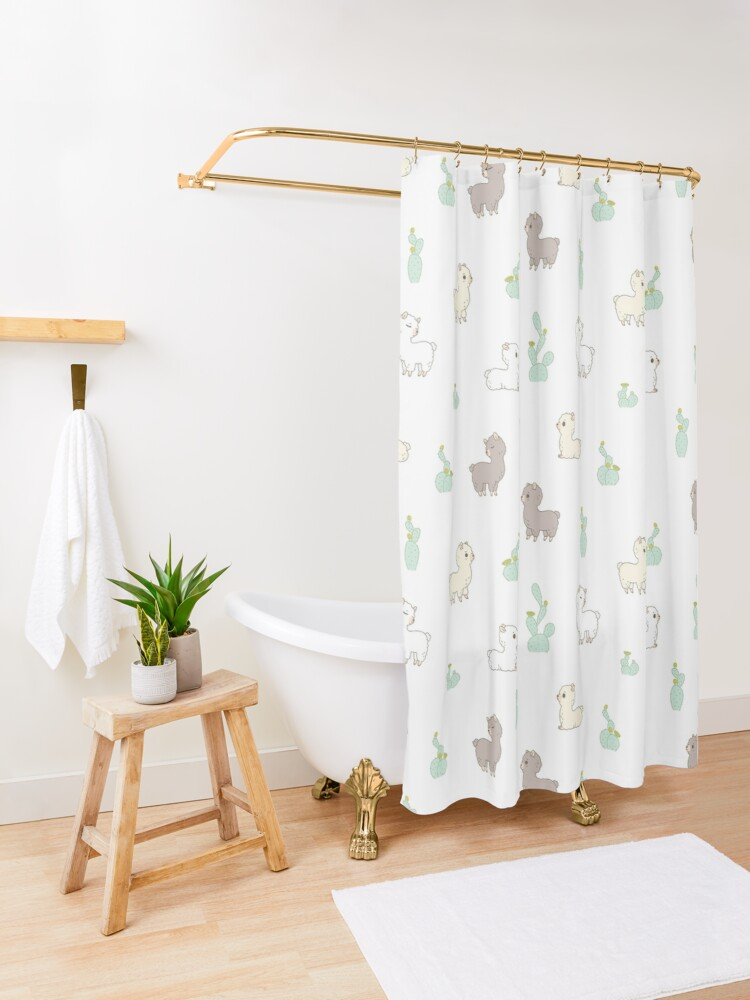 Alternate view of Alpaca pattern with cactus in white background  Shower Curtain